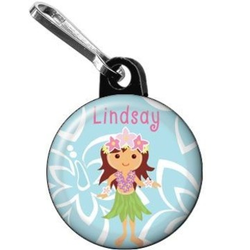 Hula Girl Personalized Mini Zipper Pull (each)