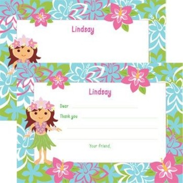 Hula Girl Personalized Thank You Note (each)