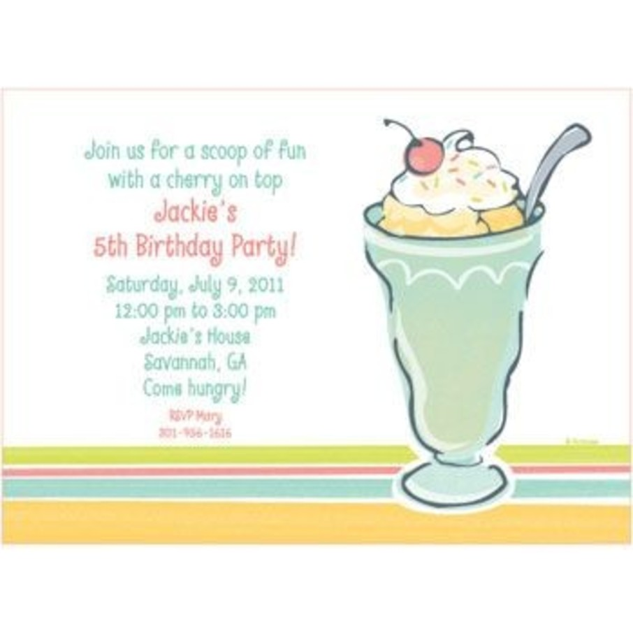 View larger image of Ice Cream Party Personalized Invitation (each)
