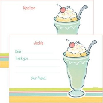 Ice Cream Party Personalized Thank You Note (each)
