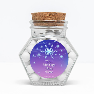 "Ice Princess Personalized 3"" Glass Hexagon Jars (Set of 12)"