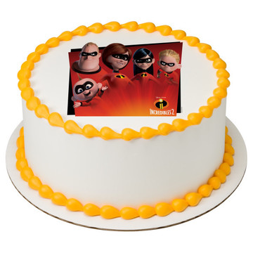 "Incredibles 2 7.5"" Round Edible Cake Topper (Each)"