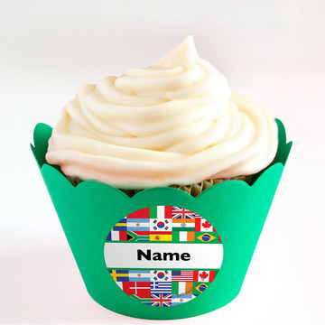 International Personalized Cupcake Wrappers (Set of 24)