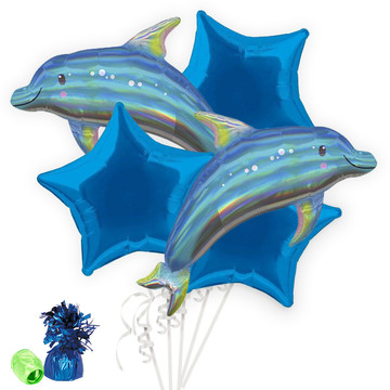 Iridescent Blue Dolphin Balloon Bouquet Kit