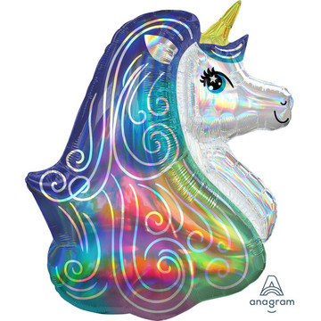 "Iridescent Rainbow Unicorn 30"" Balloon (1)"