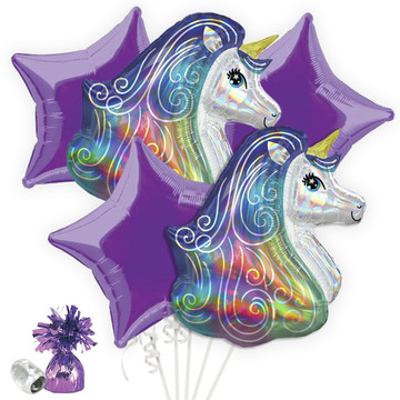 Iridescent Rainbow Unicorn Balloon Bouquet Kit