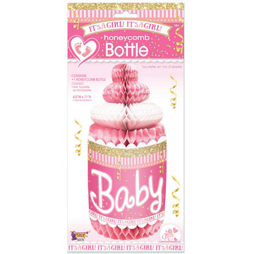 It's A Girl Honeycomb Baby Bottle