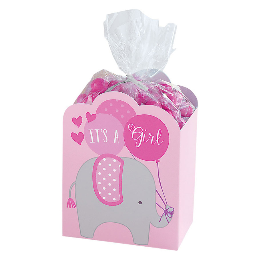 View larger image of It's a Girl Pink Baby Shower Elephant Favor Boxes (8 Count)