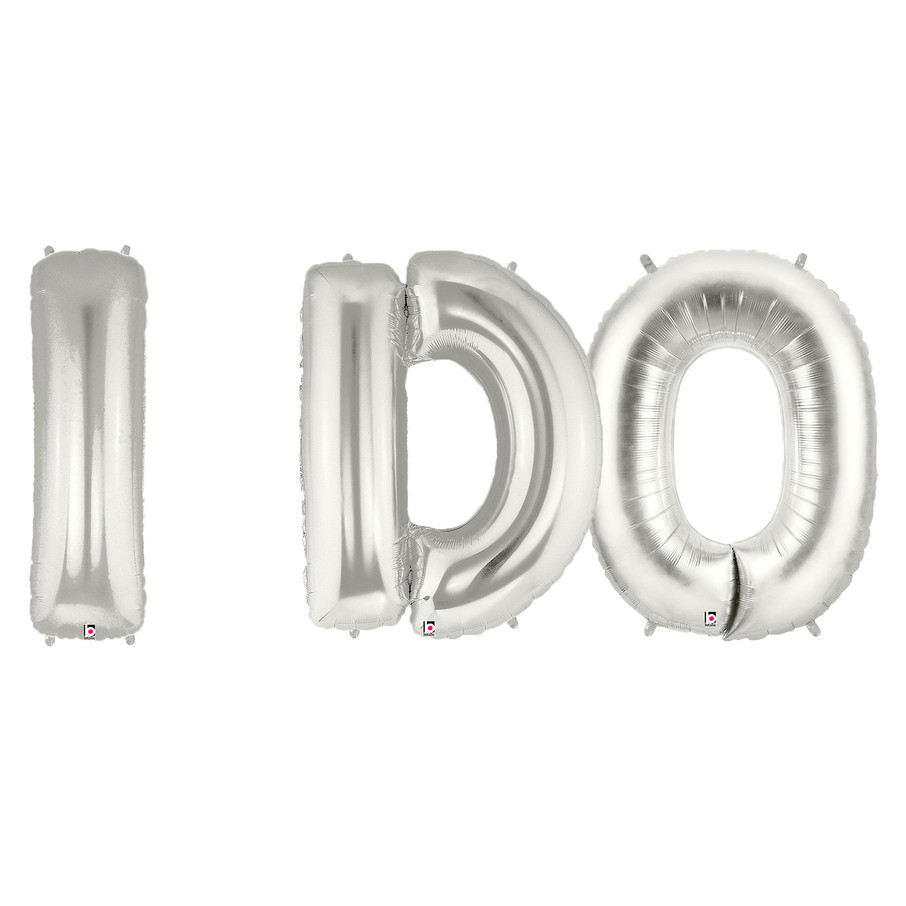 View larger image of Jumbo Silver Foil Balloons-I DO