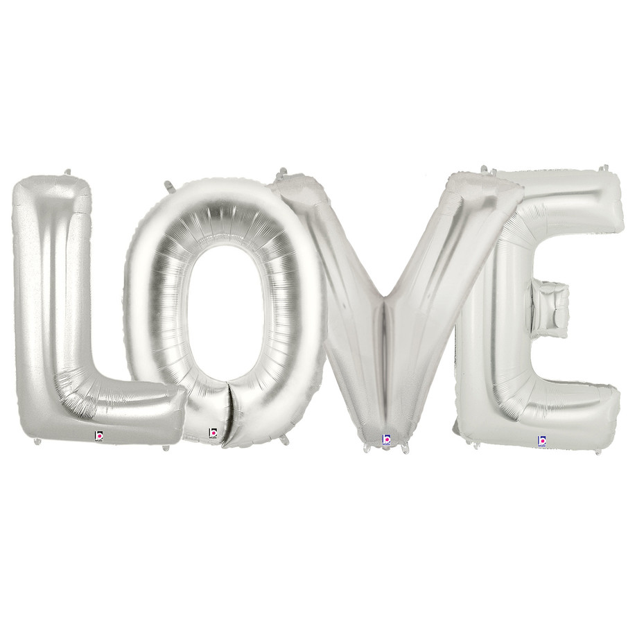 View larger image of Jumbo Silver Foil Balloons-LOVE