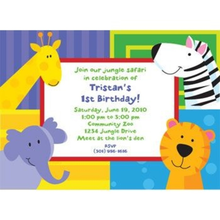 View larger image of Jungle Animals Personalized Invitation (each)