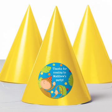 Jungle Birthday Personalized Party Hats (8 Count)