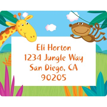 Jungle Party Personalized Address Labels (Sheet of 15)