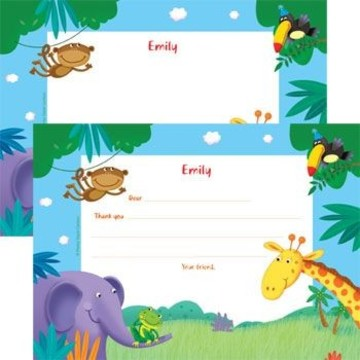 Jungle Party Personalized Thank You Note (each)
