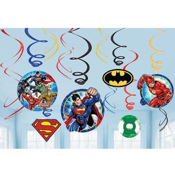 Justice League Foil Swirl Decorations (12 Pieces)