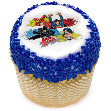 "Justice League Team Unite 2"" Edible Cupcake Topper (12 Images)"