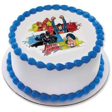 "Justice League Team Unite 7.5"" Round Edible Cake Topper (Each)"