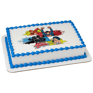 Justice League Team Unite Quarter Sheet Edible Cake Topper (Each)