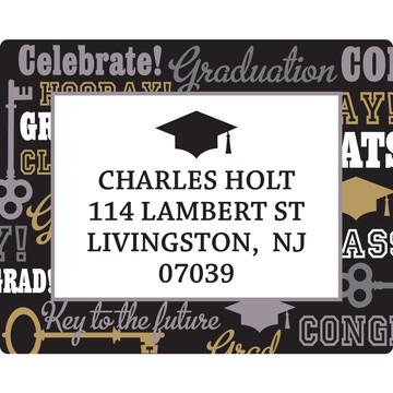 Key To Success Graduation Personalized Rectangular Stickers (Sheet of 15)