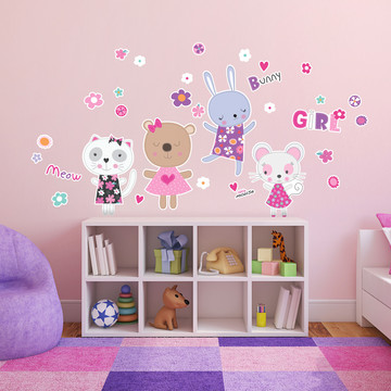 Kitten and Bunnies Small Wall Decal