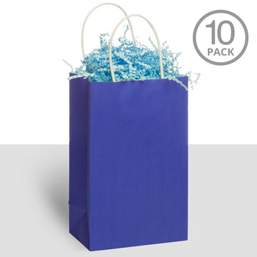 Kraft Handle Bags Blue (10 Pack)