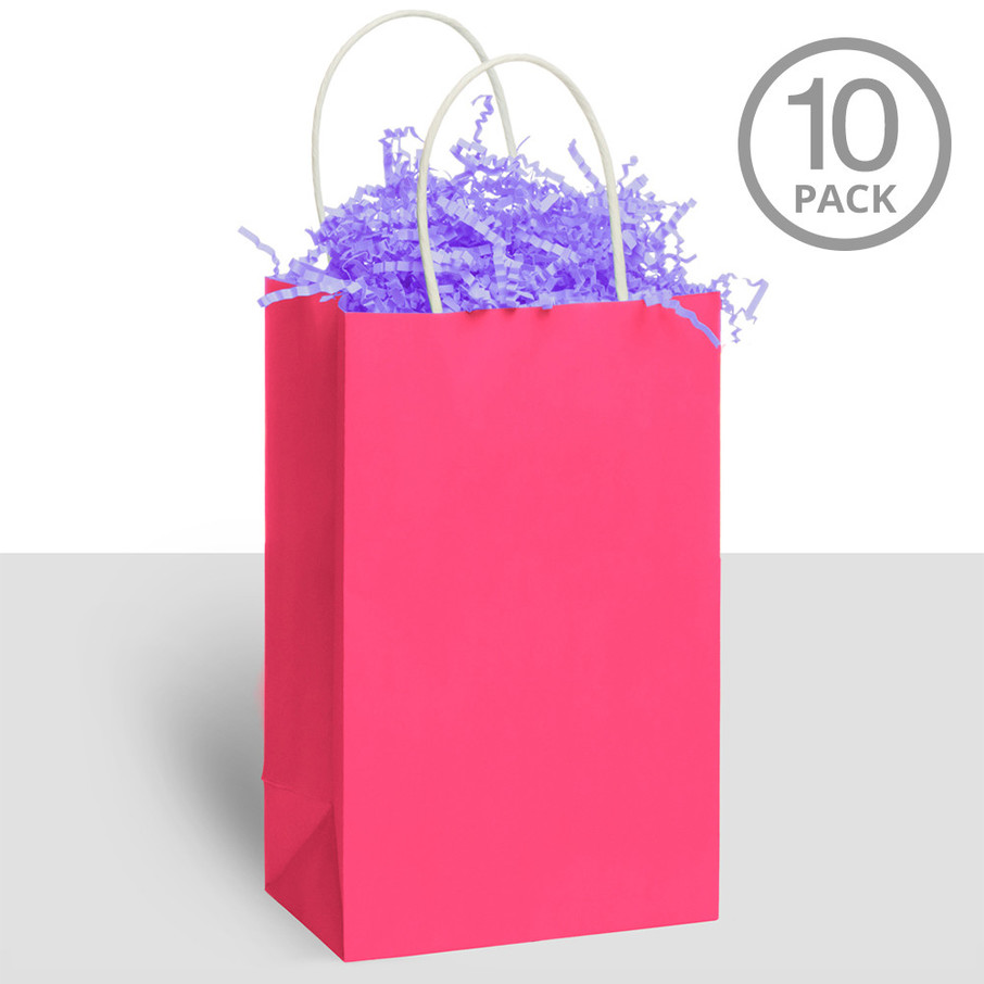 View larger image of Kraft Handle Bags Pink (10 Pack)
