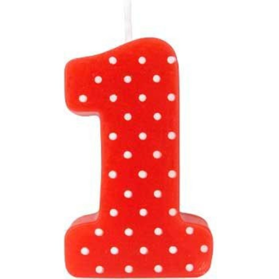 View larger image of Red Polka Dot 1st Birthday Candle (Each)