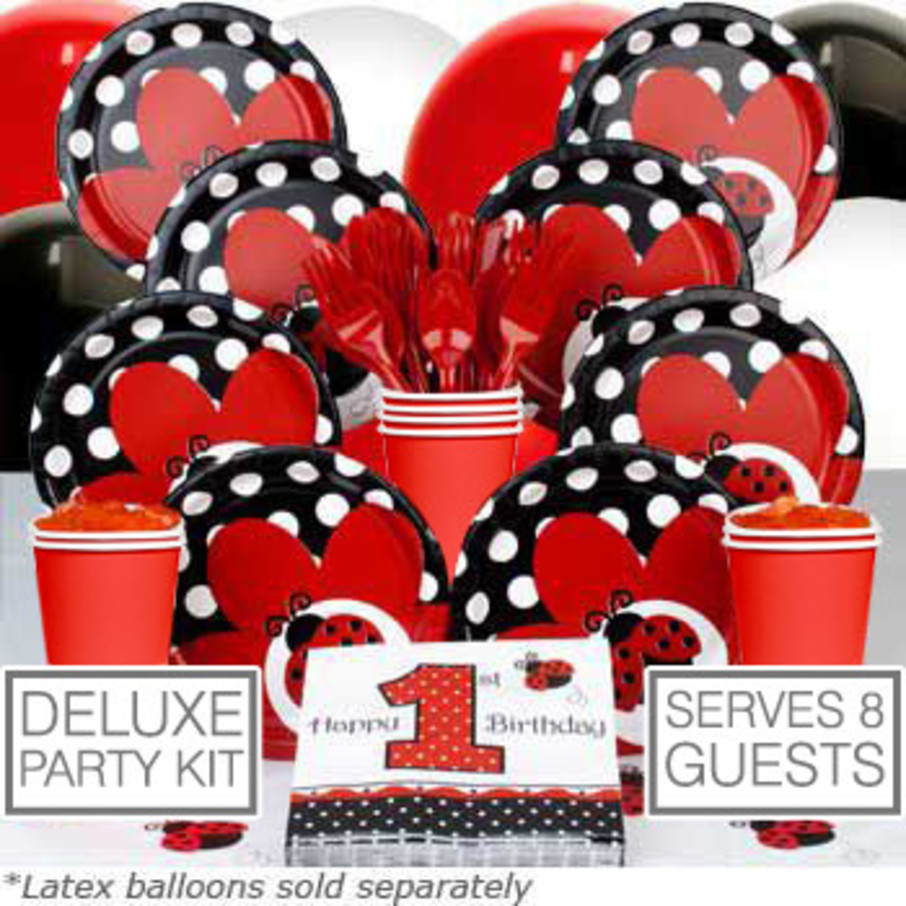 View larger image of Ladybug 1st Birthday Deluxe Kit (Serves 8)