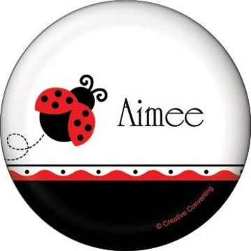 Ladybug Party Personalized Button (each)