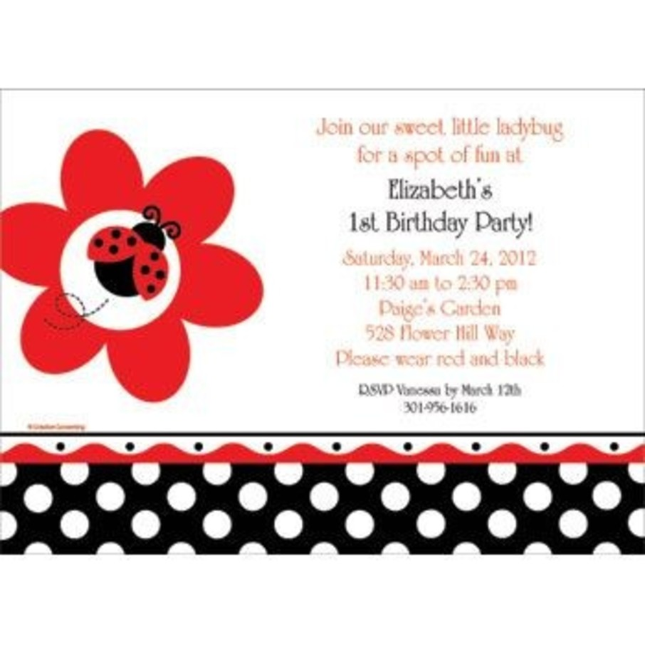 View larger image of Ladybug Party Personalized Invitation (each)