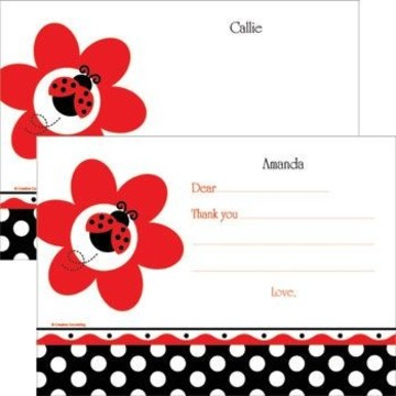 Ladybug Party Personalized Thank You Note (each)