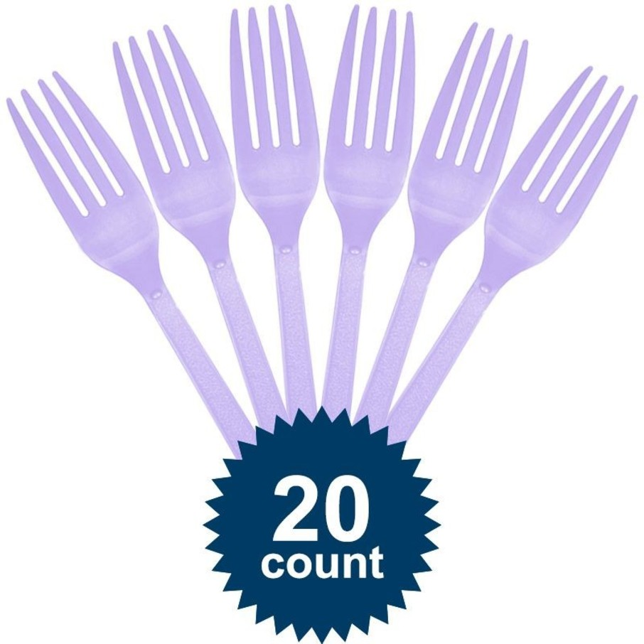 View larger image of Lavender Plastic Forks