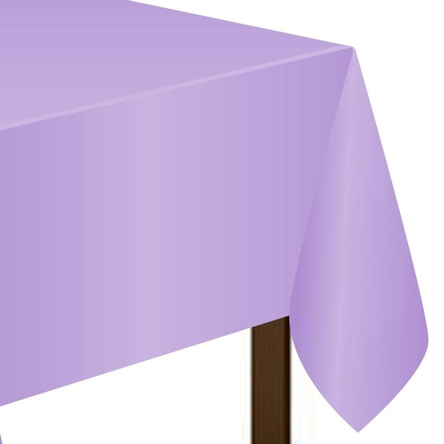 "View larger image of Lavender Plastic Tablecover, 54""-108"""