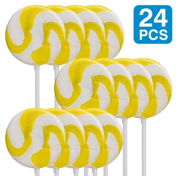 "Lemon Yellow 2"" Swirl Lollipops (24 Pack)"
