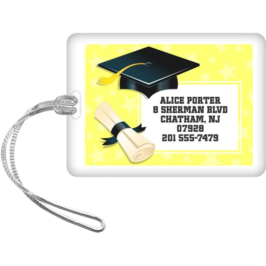 View larger image of Lemon Yellow Grad Personalized Luggage Tag (Each)
