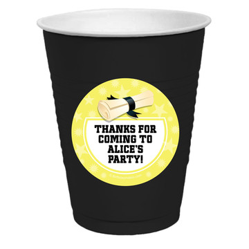 Lemon Yellow Grad Personalized Party Cups, 50ct