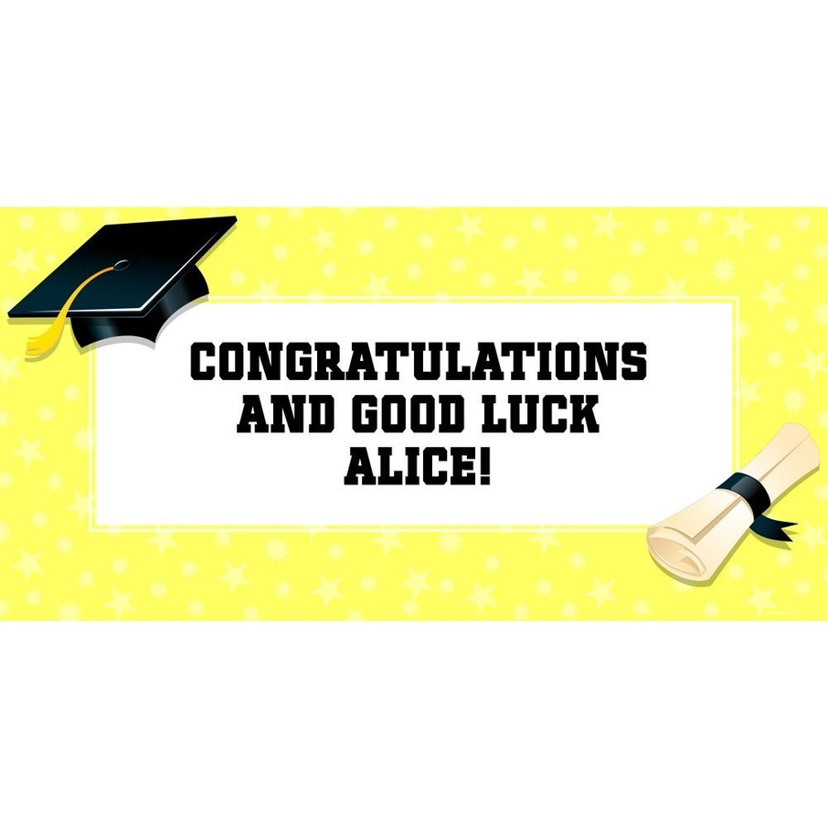"""View larger image of Lemon Yellow Graduation Personalized Giant Banner 60x30"""" (Each)"""
