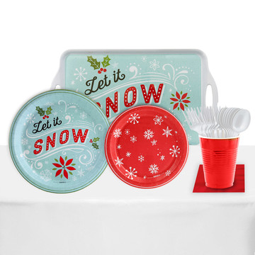 Let It Snow 24 Guest Party Pack Melamine Tray