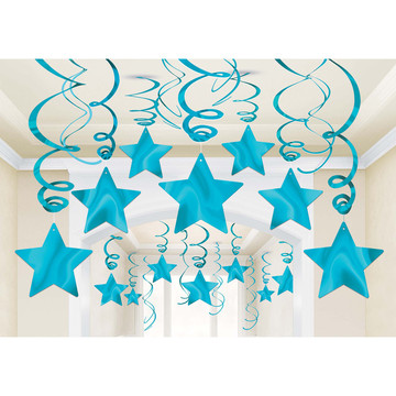 Light Blue Foil Star Hanging Decorations (30 Count)