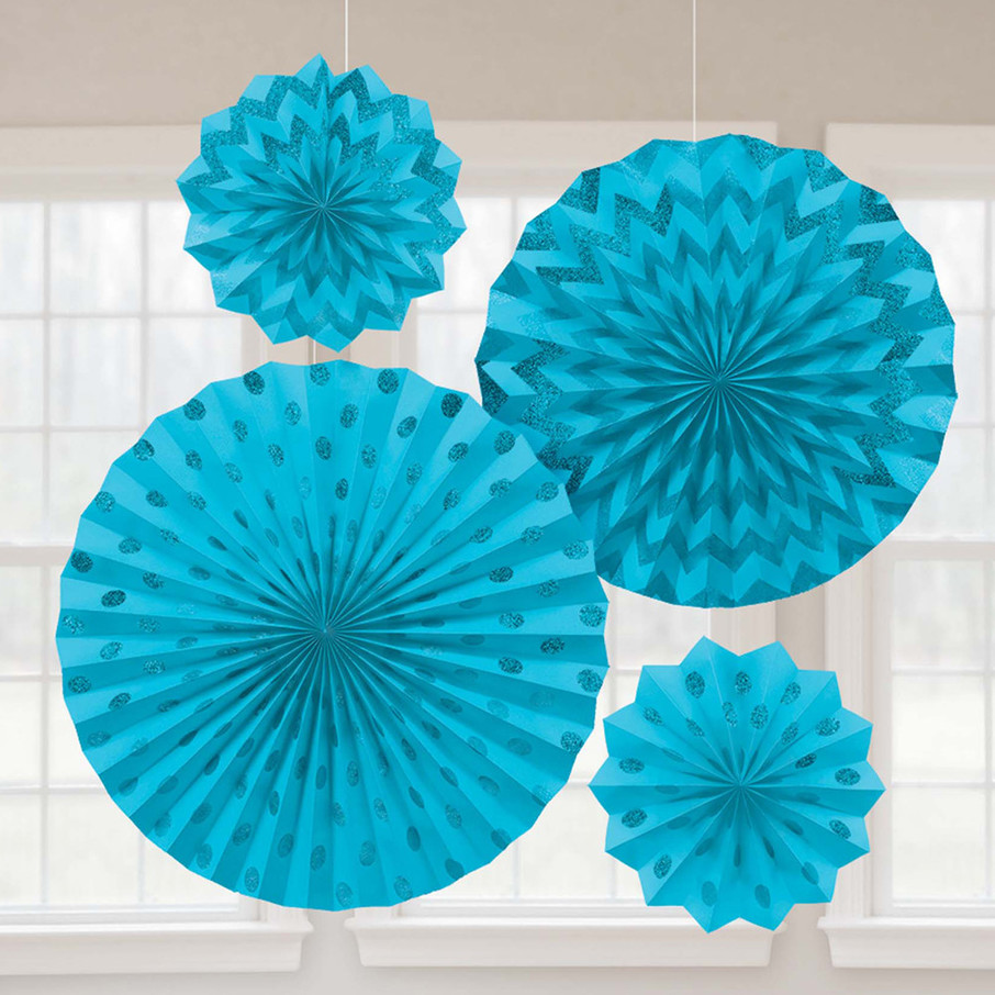 View larger image of Light Blue Glitter Paper Fan Decorations (4 Pack)
