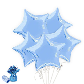 Light Blue Star Balloon Bouquet Kit