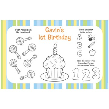 Lil' Boy 1st Birthday Personalized Activity Mats (8-Pack)