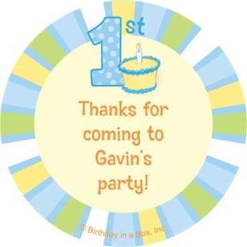 Lil' Boy 1st Birthday Personalized Stickers (sheet of 12)