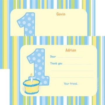 Lil' Boy 1st Birthday Personalized Thank You Note (each)
