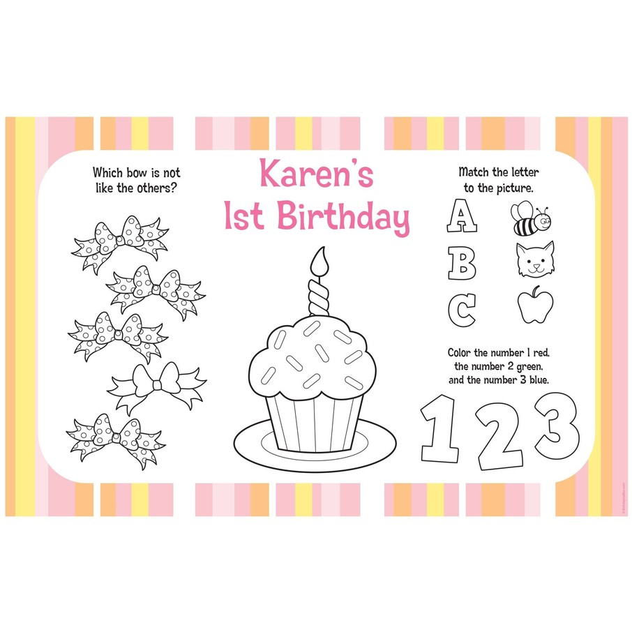 View larger image of Lil' Girl 1st Birthday Personalized Activity Mats (8-Pack)