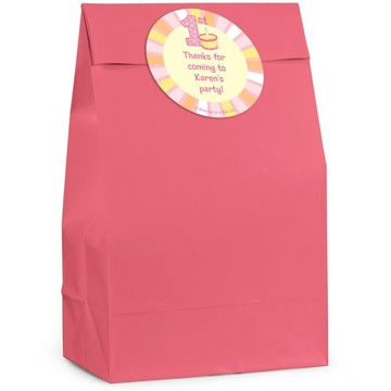 Lil Girl 1st Birthday Personalized Favor Bag (Set Of 12)