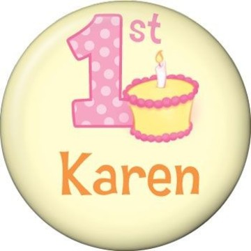 Lil' Girl 1st Birthday Personalized Mini Button (each)