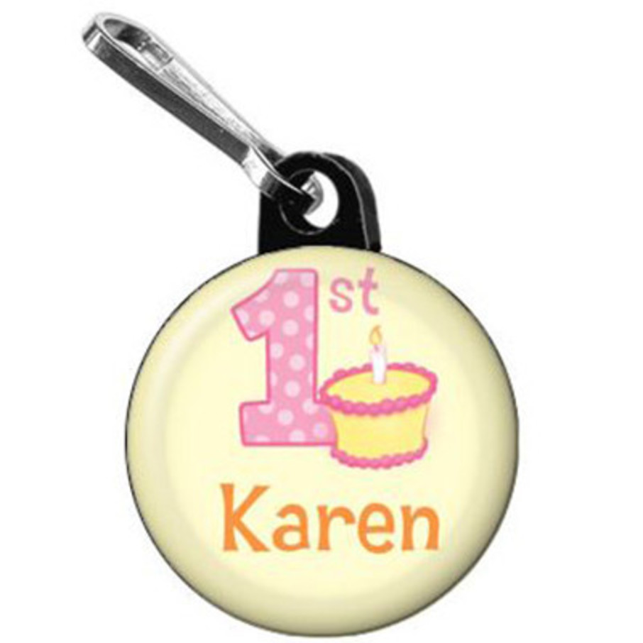 View larger image of Lil' Girl 1st Birthday Personalized Mini Zipper Pull (each)