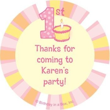 Lil' Girl 1st Birthday Personalized Stickers (sheet of 12)