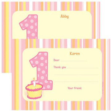 Lil' Girl 1st Birthday Personalized Thank You Note (each)